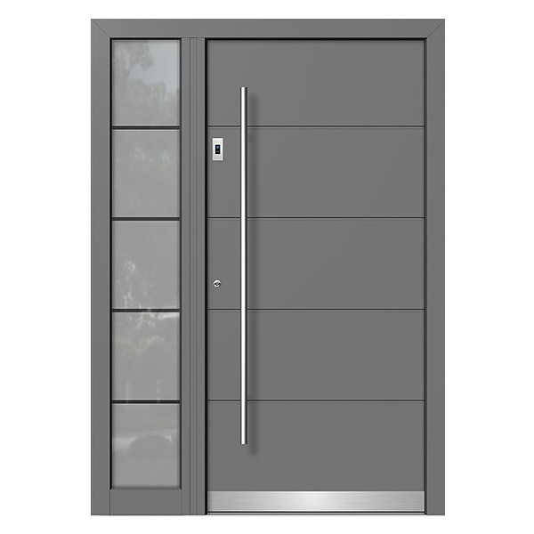 Anthracite Entry Door with Fingerprint System